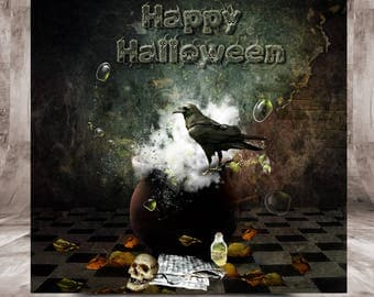 Halloween card, postcard format 10.5 x 10.5 cm