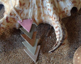 mid neck triangle leather and silver chain necklace