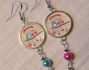 Owls in love silver heart beads and cabochon 925 Sterling Silver earrings