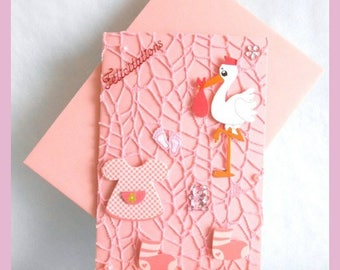 Pink lace covered birth card