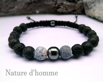 Fossilized blue coral braided bracelet, volcanic rock and stone hematite Ref: BN-199