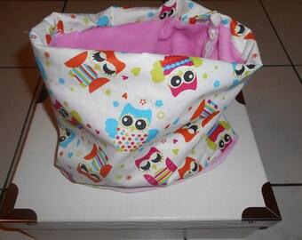 Snood or neck fleece child patterns owls to order