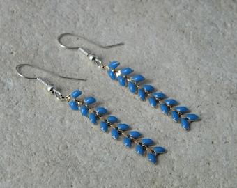 Blue glazed corn chain earrings