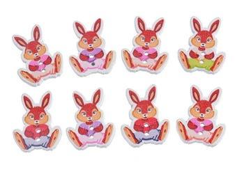 Rabbit 30 x 18 mm wooden button