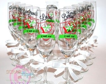 Basque personalized wedding champagne flutes