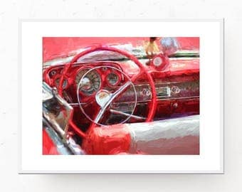 1957 Chevrolet Bel Air Print - Classic Car Decor, Digital Download, Red Home Decor, Gift for Dad, Classic Car Wall Art, Printable Wall Art