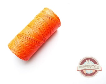 8 metres of orange coral macrame 0.7 mm waxed polyester cord