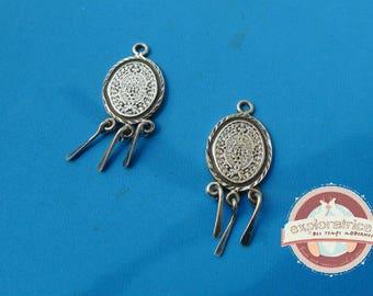 2 pendants Mayan calendar Mayan Aztec oval Silver 925 - 14x25mm