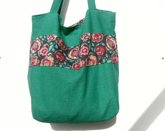 Fancy fabric and linen tote bag.