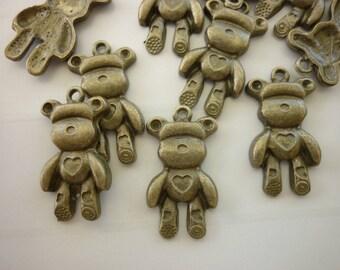 Set of 2 bronze bear charms