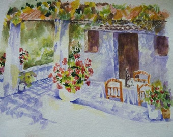 "Art watercolor painting: ""Serenity in the Arbor"""