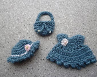 Miniature crochet dress and hat and matching bag