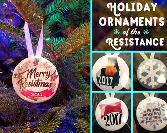 Pieces de the Resistance 2017 Holiday Ornaments | Snowflakes | Pussy Hat | Dumpster Fire | Anti-Trump | Hanukkah Gift Christmas | trump sale