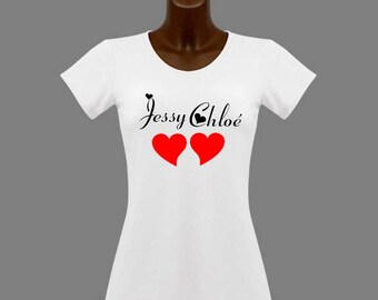 Woman tee-shirt White heart and names personalized with name