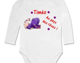 Bodysuit with the land of dreams, personalized with name