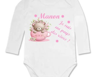 Bodysuit Teddy in the land of dreams, personalized with name