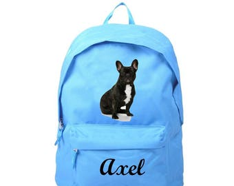 bag has blue french Bouldog personalized with name