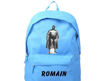 bag has blue wrestler personalized with name