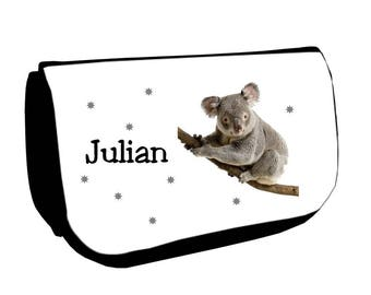 Black makeup /crayons Koala case personalized with name