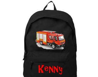 bag has black back fire truck personalized with name