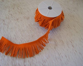 1 M fringe suede orange for pom poms, tassels, jewelry making and all accessories decor