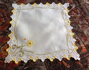 Vintage haberdashery, square hand embroidered