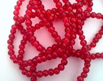 Set of 20 red glass beads - cracked T32 3 mm