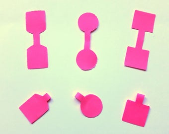 Lot 50 tags in neon pink paper - 3 different shapes