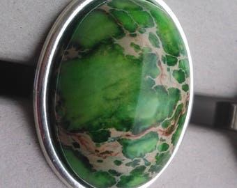 A gorgeous ring in chrysolite green aquaterra Jasper