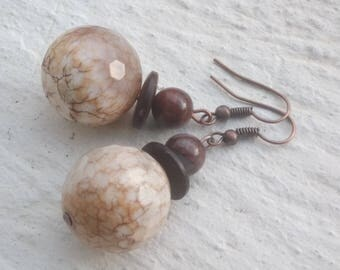 Earrings: Stunning faceted fire agate and coconut - match the necklace