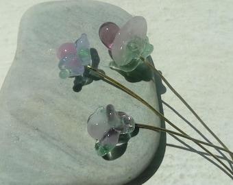Romantic Bouquet: flower glass Lampwork on brass