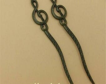 """1 bookmark """"music"""" carved bronze shaped treble clef blank 108 * 16mm (approx.)"""