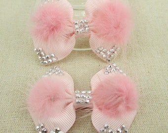 2 pretty pink bows and matching soft fur 65 * 55mm