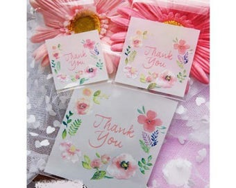 "50 small pockets self - adhesive ""tahnk you"" decor and flowers, transparent 5 * 5cm"