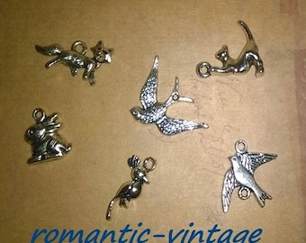 6 charms, animal charms in silver antique