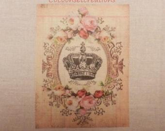 Transfer: Crown in medallion of flowers