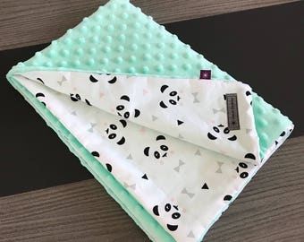 Cotton panda and minkee blanket