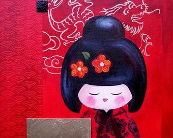 "KOKESHI - Acrylic painting on canvas: ""déco Yuko"""