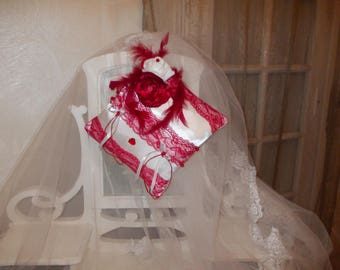 Red and white ring bearer pillow
