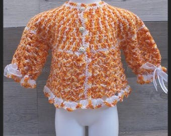 top orange marbled and white crochet