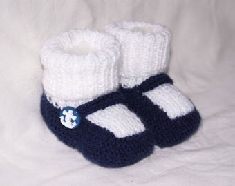 Blue and white baby sock liner Navy knit