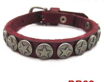 Leather Bracelet genuine red star - BR62
