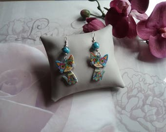 Earrings dangling cat colored way Picasso