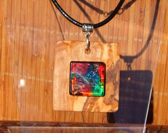 Long leather necklace and square Veriable olive wood and multicolor cabochon pendant