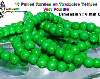 20 round beads Native American dyed Apple green Tibetan Turquoise 6 mm