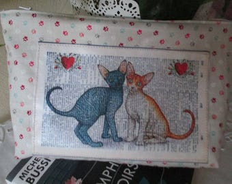 """""""Cats in love"""" sewing handmade France"""