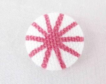 Pink flower heart buttons - 19mm - lined