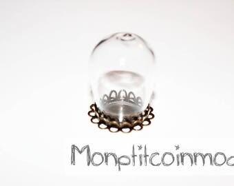 Bronze pendant Globe bucket Oval glass + lace support