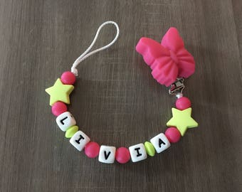 DARK ROSE PINK PACIFIER AND LIME GREEN - IDEAL BIRTH GIFT