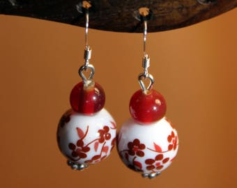 Porcelain and glass beads earrings
